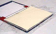Fib 6 put waxed paper or something inside top sheet to glue it to your book cover A(protect other pages from glue)