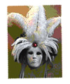 white coque feather 1/2 mask
