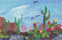 South West scene of cacti and bluebonnets, 1.25 x 1.75