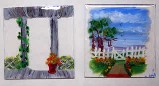 mini painting of front yard from the porch, on 2 pieces of plexi, stacked. porch on from pieces yard scene on under plexi