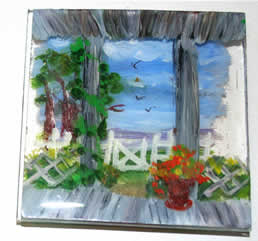 mini-painting on 2 pieces of plexi, stacked front yard from porch