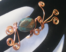 copper wire, howlite bead ring