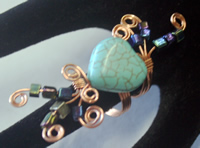 copper wire, howlite head, glass beads