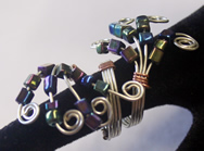 silver wire, irr black glass beads