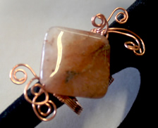 sopper wrapped stone bead ring