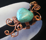 copper wrapped howlite heart bead ring