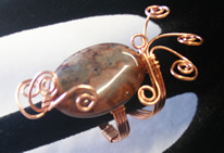 copper wrapped stone bead ring